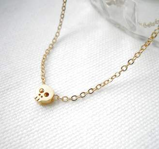 LaBelle et la Bete Gold Plated Skull Necklace