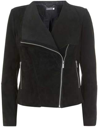 Mint Velvet Black Suede Double Layer Jacket