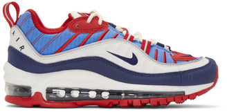 Nike White and Blue Air Max 98 Sneakers