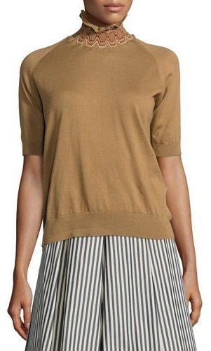 MonclerMoncler Short-Sleeve Raglan Cotton Turtleneck Sweater, Tan/White
