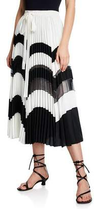 Derek Lam Pleated Chevron Wrap Skirt