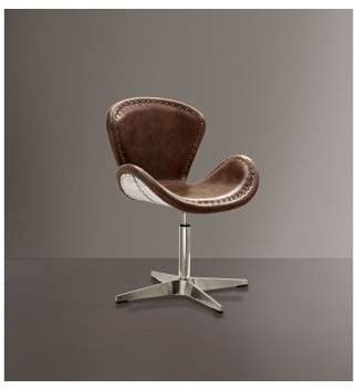 ACME Furniture Brancaster Swivel Accent Chair, Retro Brown Leather & Aluminum