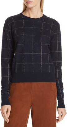 Vince Windowpane Check Cashmere Sweater