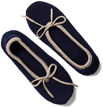 A & R Cashmere A&R Cashmere Two-Tone Cashmere Blend Slippers - Navy - a&R Cashmere