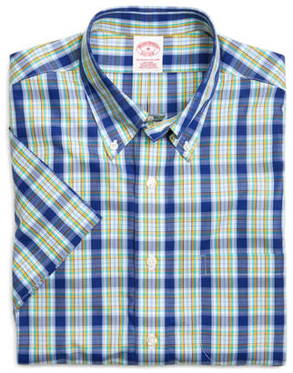 Brooks Brothers Supima Cotton Non-Iron Regular Fit Blue with Yellow Plaid Short-Sleeve Sport Shirt