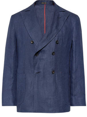 Rubinacci Navy Unstructured Double-Breasted Linen Blazer