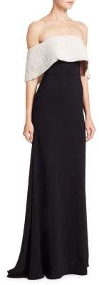Lela Rose Faux Pearl Off-The-Shoulder Gown
