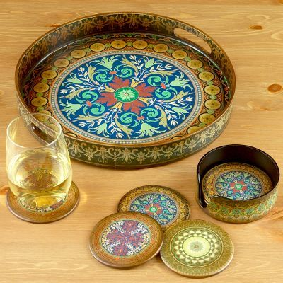 Moorish Party Serving Tray or Coaster Set of 6