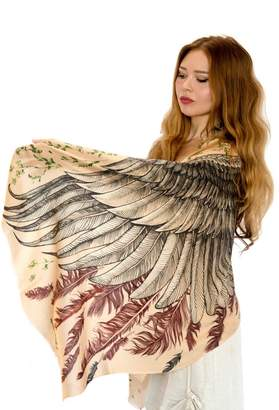 Shovava Silk & Cashmere Feather Wings Bohemian Scarf, Summer Shawl