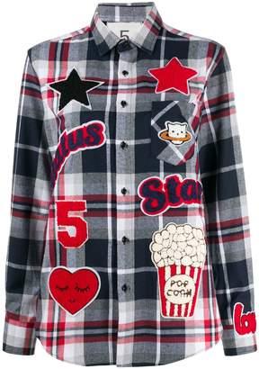 5 PROGRESS patch detail tartan shirt