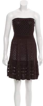Les Copains Open Knit Strapless Dress