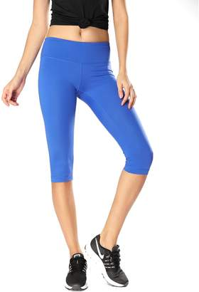 CRZ YOGA Women's Running Tights Workout Capris Leggings Yoga Pants with Pockets S