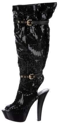 Louis Vuitton Sequin Knee-High Boots