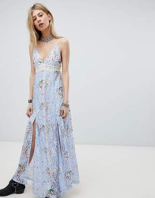 Kiss The Sky Lace Maxi Dress With Front Split And Cut Out Back
