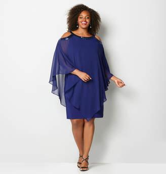 Avenue Sequin Trim Cold Shoulder Dress