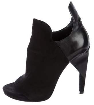 Alexander Wang Suede Peep-Toe Ankle Boots Black Suede Peep-Toe Ankle Boots