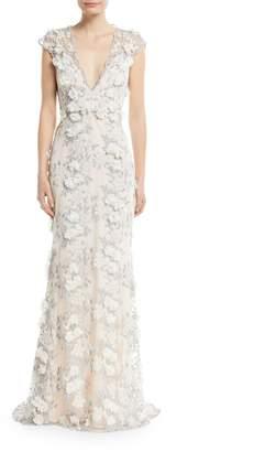 Badgley Mischka Floral 3D Lace V-Neck Gown