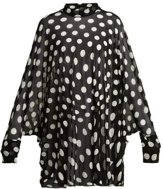 Norma Kamali Polka Dot Batwing Sleeve Cover Up - Womens - Black Print