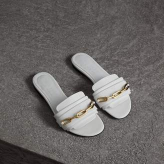 Burberry Link Detail Patent Leather Slides