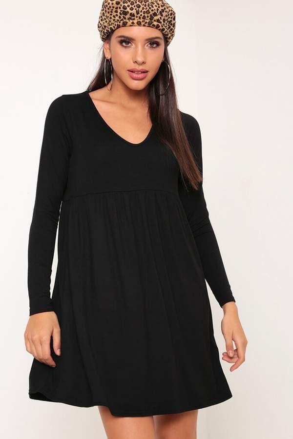 Isawitfirst Black Long Sleeve V-Neck Swing Dress