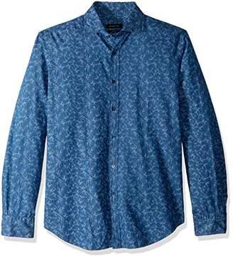 Bugatchi Men's Trim Fit Spread Collar Pattern Cotton Shirt