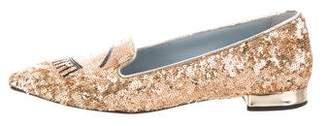 Chiara Ferragni Glitter Embroidered Flats