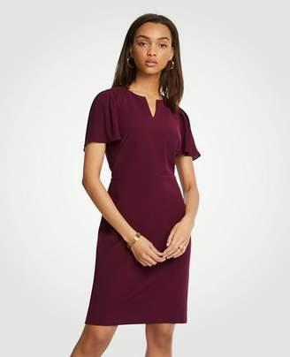 Ann Taylor Pleated Sleeve Sheath Dress
