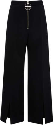 Givenchy Zip-Detailed Wool-Crepe Wide-Leg Pants