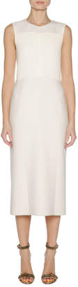 Agnona Sleeveless Stretch-Knit Sheath Dress, White