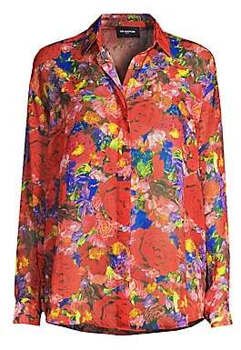 The Kooples Women's Floral Silk Button-Down Blouse