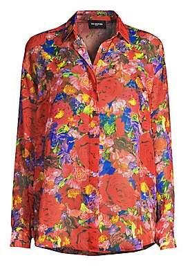 The Kooples Women's Floral Silk Button-Down Blouse