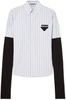 Prada Jersey-trimmed Striped Cotton-poplin Shirt - Blue