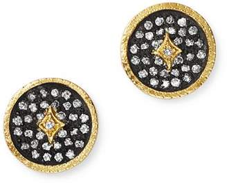 Armenta 18K Yellow Gold & Blackened Sterling Silver Old World Pavé Champagne Diamond Disc Stud Earrings