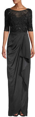 Aidan Mattox Beaded Column Gown w/ Draped Skirt