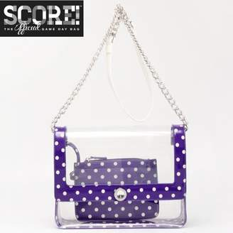 clear PU Cross Body Shoulder Bag for Game Day Chrissy Royal Purple & White by SCORE! The Official Game Day Bag Two Piece Set