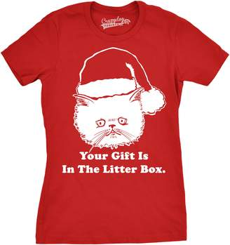 Crazy Dog T-shirts Crazy Dog Tshirts Womens Gift Is In The Litter Box Funny Crazy Cat Christmas Holiday T shirt -XL