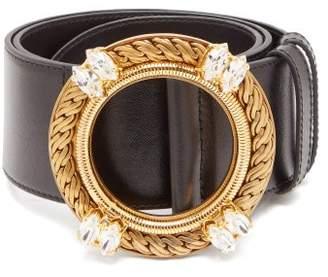 39e603fca Miu Miu Crystal Buckle Leather Belt - Womens - Black