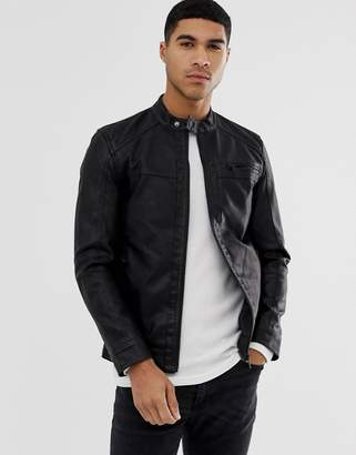 ONLY & SONS faux leather racer jacket