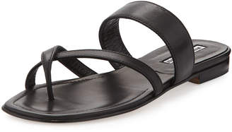 Manolo Blahnik Susa Crisscross Leather Flat Sandal