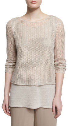 Eileen Fisher Long-Sleeve Layered Linen Top W/ Cami, Plus Size $268 thestylecure.com