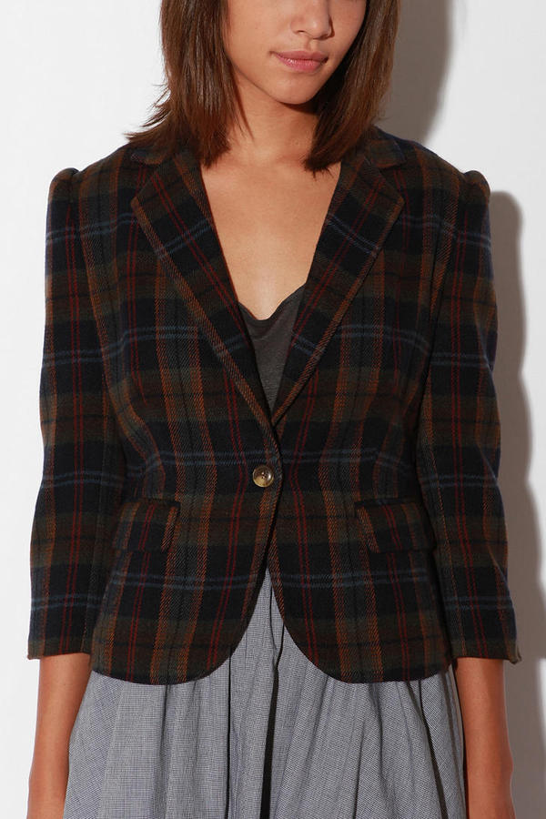 Character Hero Plaid Wool Blazer
