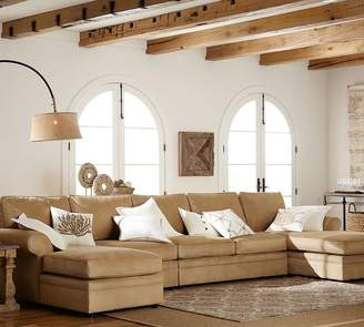 Pottery Barn Pearce Roll Arm Upholstered 4-Piece Double Chaise Sectional