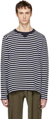 Sacai Navy Striped Dixie Border T-Shirt $265 thestylecure.com