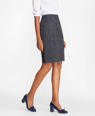 04380262a Brooks Brothers Plaid Tweed Pencil Skirt