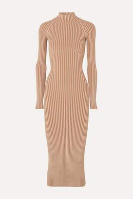 Dion Lee Cutout Ribbed-knit Midi Dress - Copper