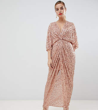 e010c8555 Asos DESIGN Petite scatter sequin knot front kimono maxi dress