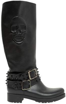 Philipp Plein Leather biker boots