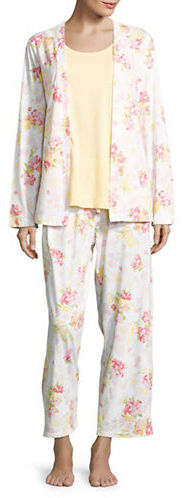 Carole HochmanCarole Hochman Floral Cardigan, Tank and Pants Pajama Set