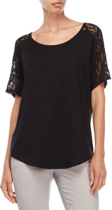 August Silk Lace Trim Tee