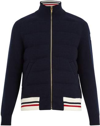 Moncler Striped-hem waffle-knit wool bomber jacket